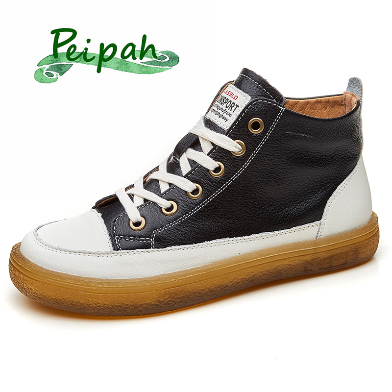 PEIPAH Genuine Leather Women's Boots Autumn Woman Ankle Flat Boots Student Female Sneakers Casual Lace-Up Round Toe Ladies Shoes