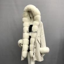где купить 2019 Real fur coat fox parkas winter jacket coat women parka big real raccoon fur collar natural fox fur liner long outerwear по лучшей цене