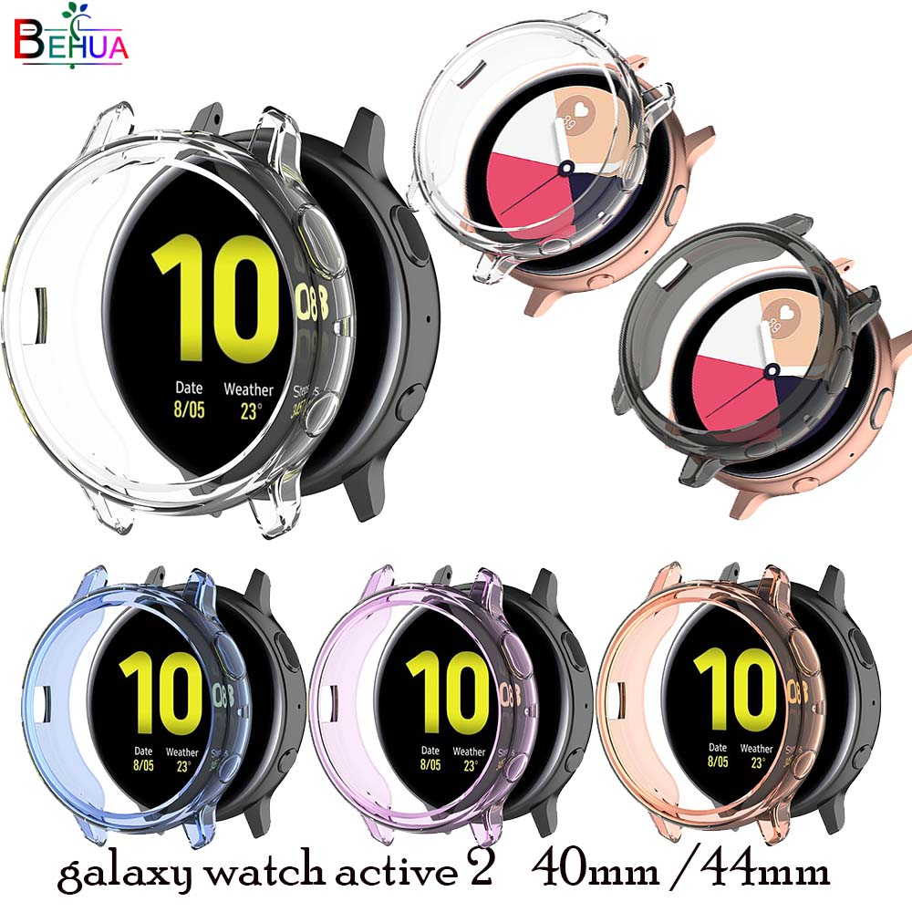 BEHUA Ultra-Thin Tpu Screen Protection Watch Case For Samsung Galaxy Watch Active 2 44mm 40mm SM-R830 R820 Clear Protector Cover