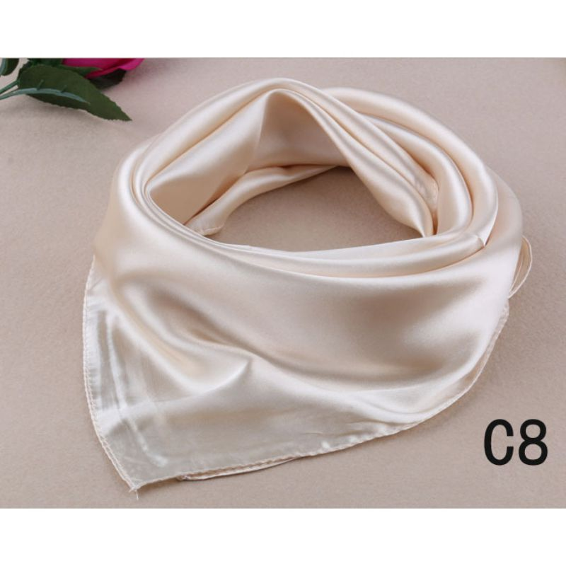 Autumn And Winter Scarf New Silk Scarf Fashion Candy Color Women's Multi-purpose Wild Silk Elegant Temperament Scarf Square