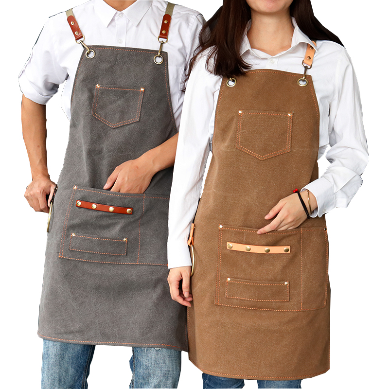 2020 New Thick Canvas Unisex Apron Bib Chef Kitchen Aprons For Women Men Coffee Shop Barber BBQ Bib Working Uniform