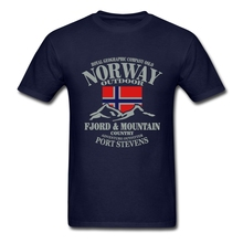 Летний флаг Норвегии Fjord горный футболка сумасшедшая Мужская рубашка хлопок Crewneck Плюс Размер короткий рукав Забавные футболки