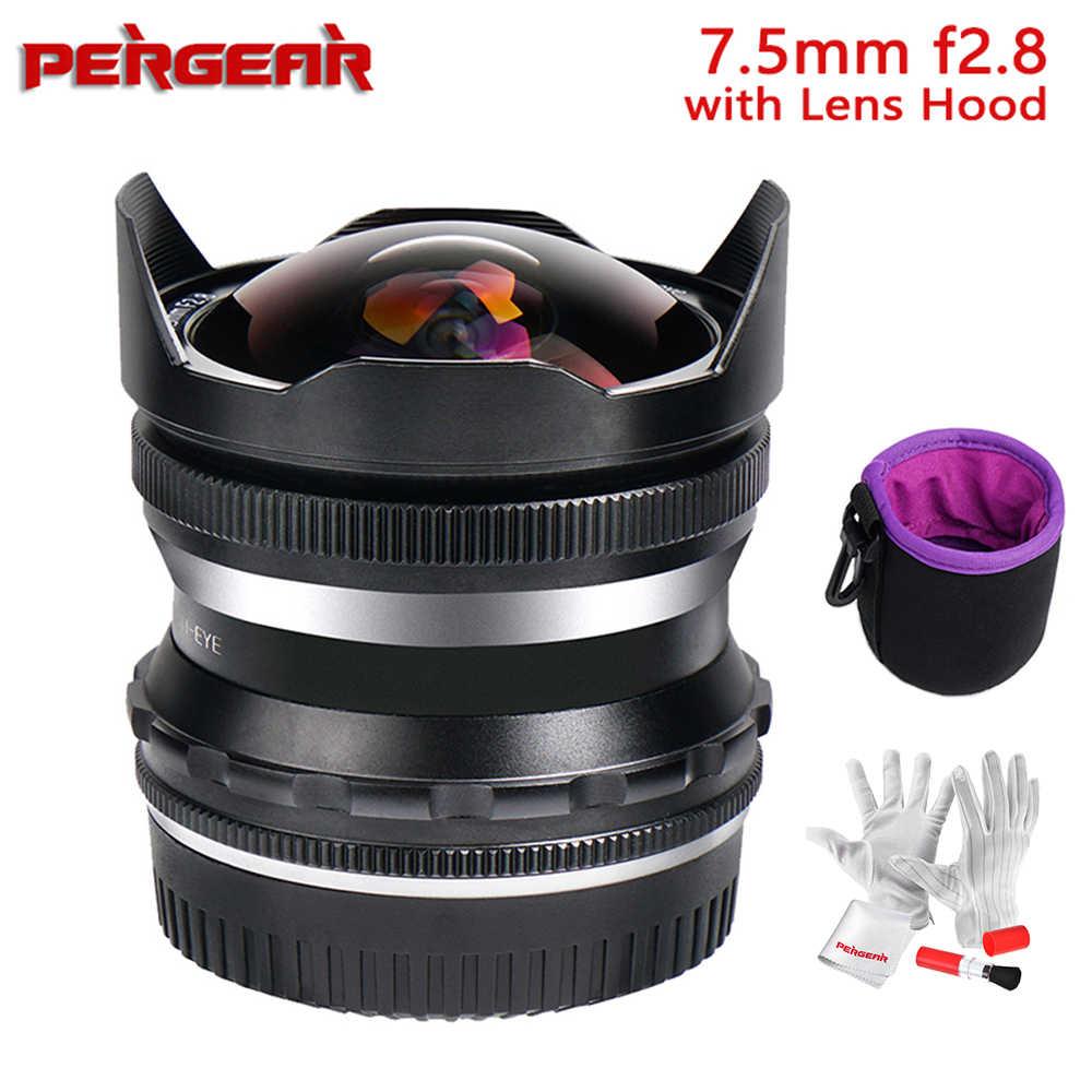 sin espejo con mini ventilador Pergear PERGEAR Lente fija de enfoque manual gran angular F2 de 12 mm compatible con c/ámaras Micro Cuatro Tercios M4//3