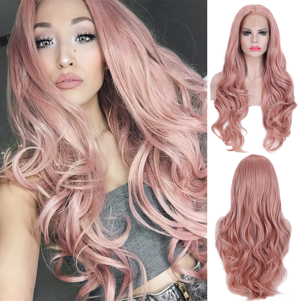 Pinkshow Pink Purple Wig Synthetic Lace Front Wig Long Wavy Wigs For Black Women Heat Resistant Fiber Glueless Party Wig Peruka