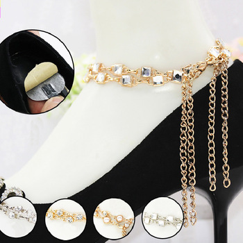 Hot Sale Jewelry Shoes Band for Heel Strap Pearls Crystal Shoes Belt Decorations Women New High Heel Shoes Ankle Chains Anklets wenzhan latest shoes matching bags lemon green flannelette material for wedding high heel shoes with appliques bag hot a711 28