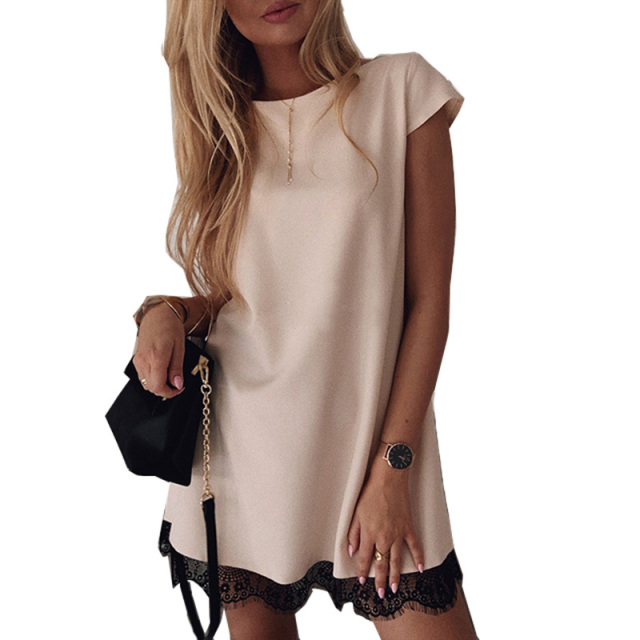 Women Dress Short Sleeve Straight Lace Mini Party Dresses Summer Elegant Robe Femme Womens Clothing 2020 1