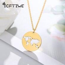 Collier avec pendentif géométrique rond pour femmes, avec carte du monde, en or, cadeau de fête de mariage, ajouré