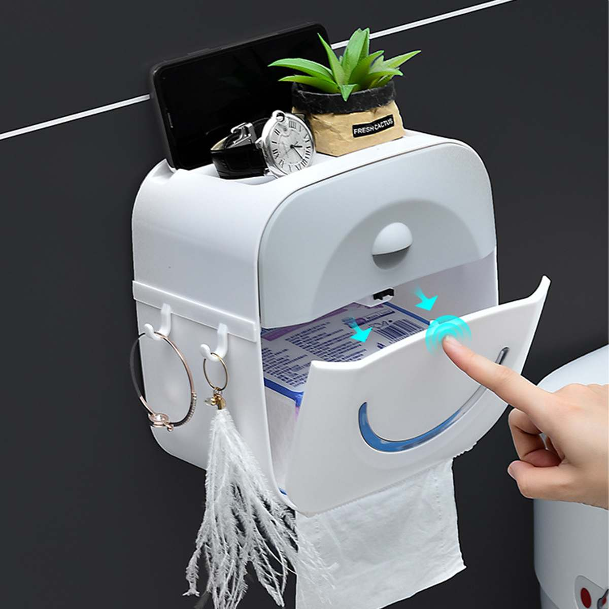 Portable Toilet Paper Holders Waterproof Double Paper Tissue Box Wall Mounted Storage Box Paper Holder For Bathroom And Toilet