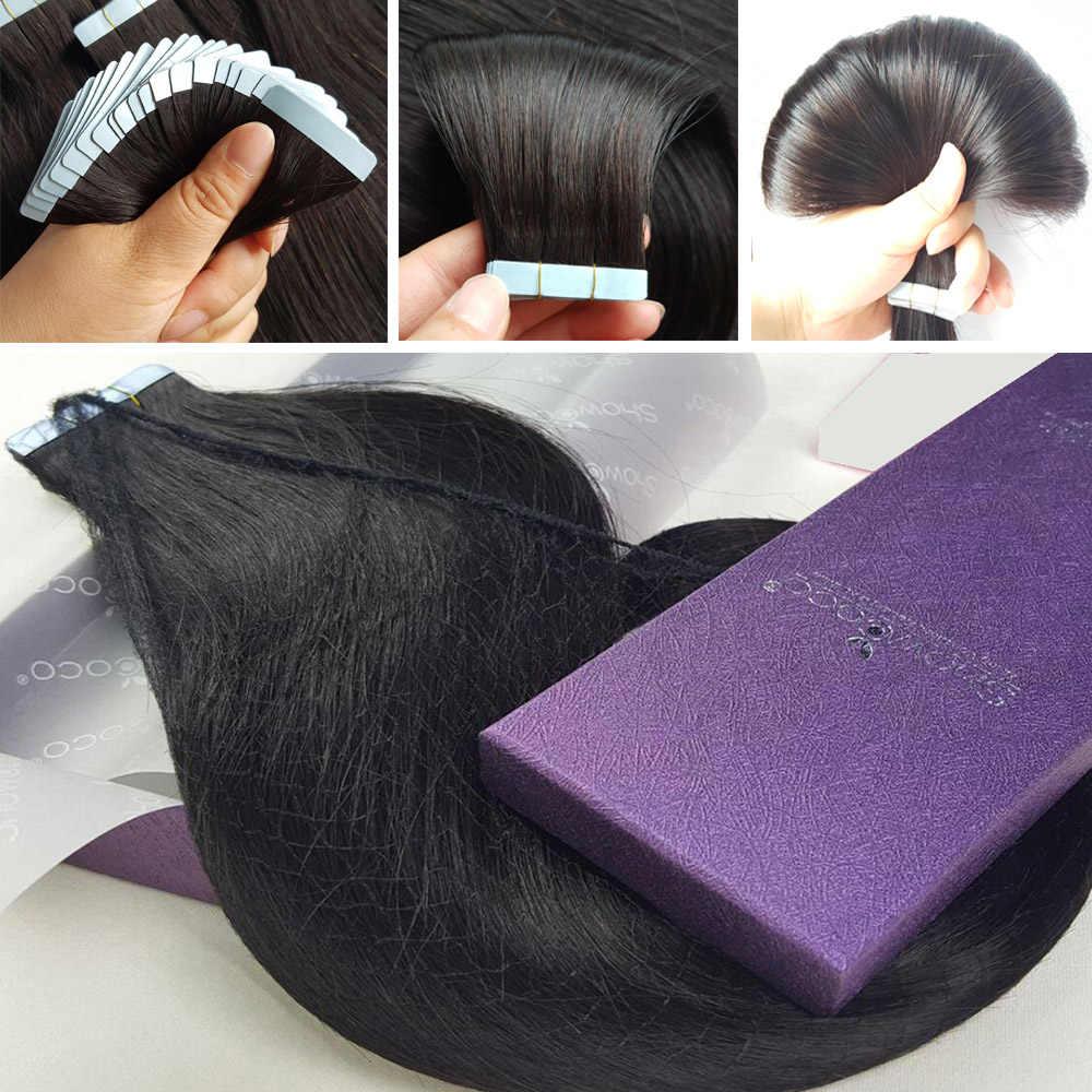Showcoco Tape Hair Extensions Menselijk Haar Machine Gemaakt Remy Dubbelzijdige Tape Extensions Haar 20/40 Pcs tape Ons