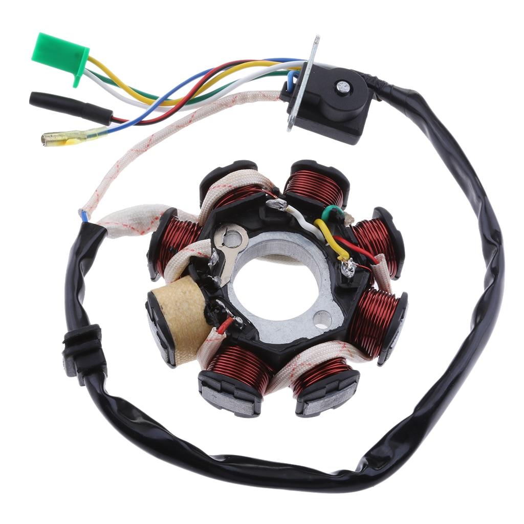 8 폴 스테이터 마그네틱 점화 코일 어셈블리 GY6 125 150cc 스쿠터 ATV