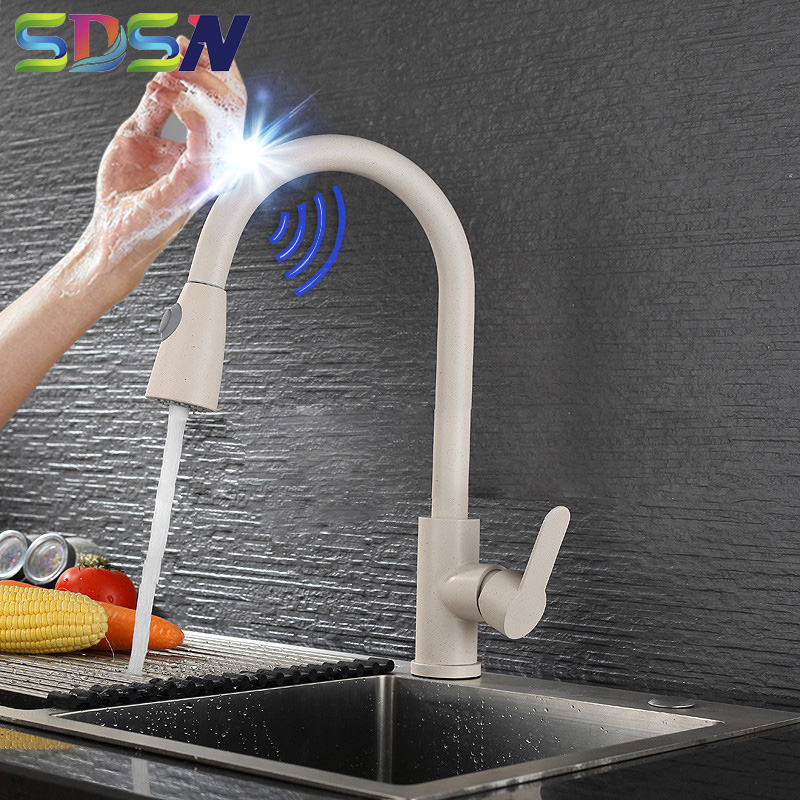 Pull Out Kitchen Faucet SDSN Smart Touch Control Kitchen Faucet Pull Down Sensor Kitchen Faucets Stainless Steel Touch Faucets