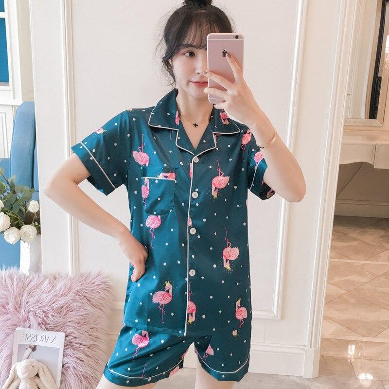 Summer Pajamas Sexy Pajamas WOMEN'S Short Sleeved Summer Model Silk Sweet Korean-style Cardigan Thin Viscose Set