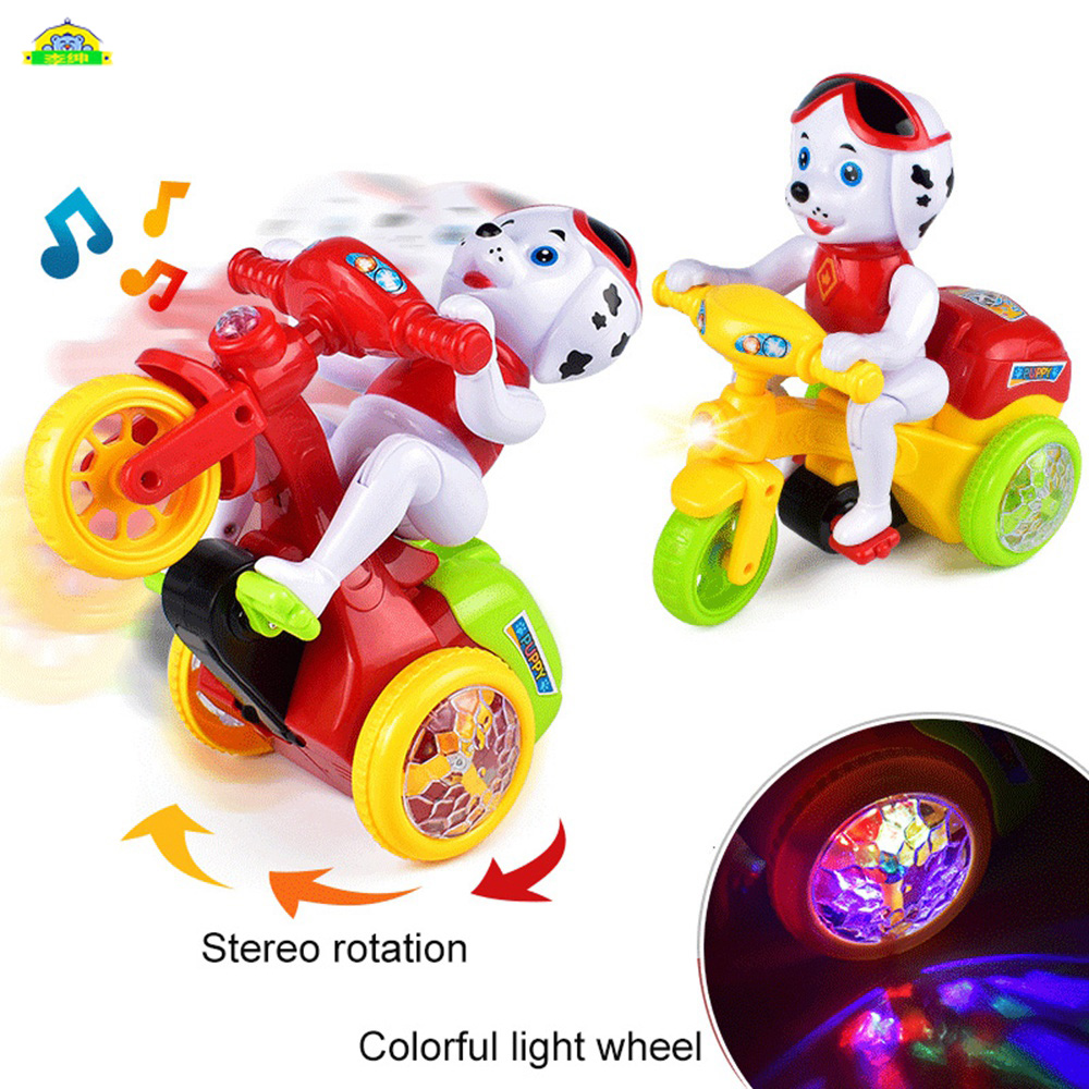 Electric Pets Toys Robot Dog Spinning Stunt Motorcycle Toy ABS Cartoon Dog Sound & Light Electric Toy Model Gift For Kids