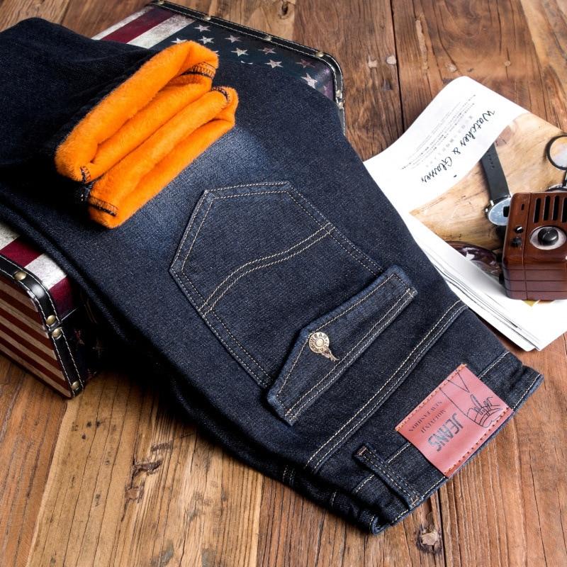 19 Winter Plus Velvet Jeans Men Business Straight-Leg Trousers Fashion Casual Warm Thick Men's Trousers Hot Selling