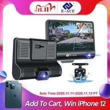 E ACE B28 جهاز تسجيل فيديو رقمي للسيارات داش كام 4.0 بوصة مسجل فيديو كاميرا السيارات 3 عدسة الكاميرا مع كاميرا الرؤية الخلفية المسجل داشكام DVRs