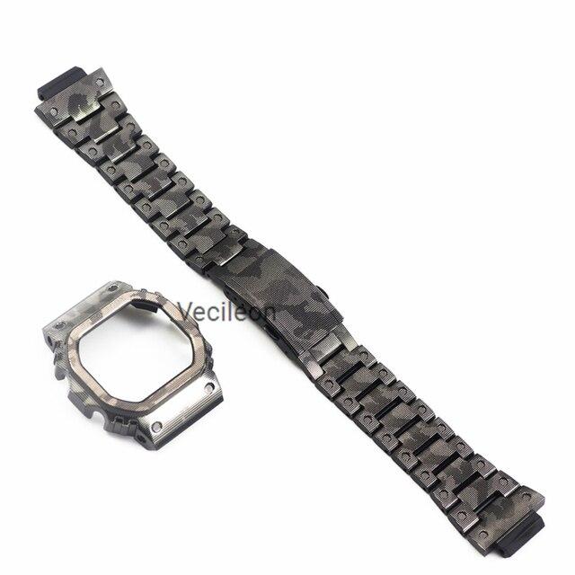 Nuevo reloj de pulsera de acero inoxidable 316L de camuflaje para DW5600 GW-M5610 mw5000 con bisel/caja de correa de Metal