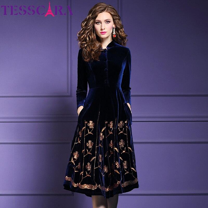 TESSCARA Women Autumn & Winter Elegant Sequin Velvet Dress Festa Female High Quality Designer Party Vestidos Vintage Robe Femme