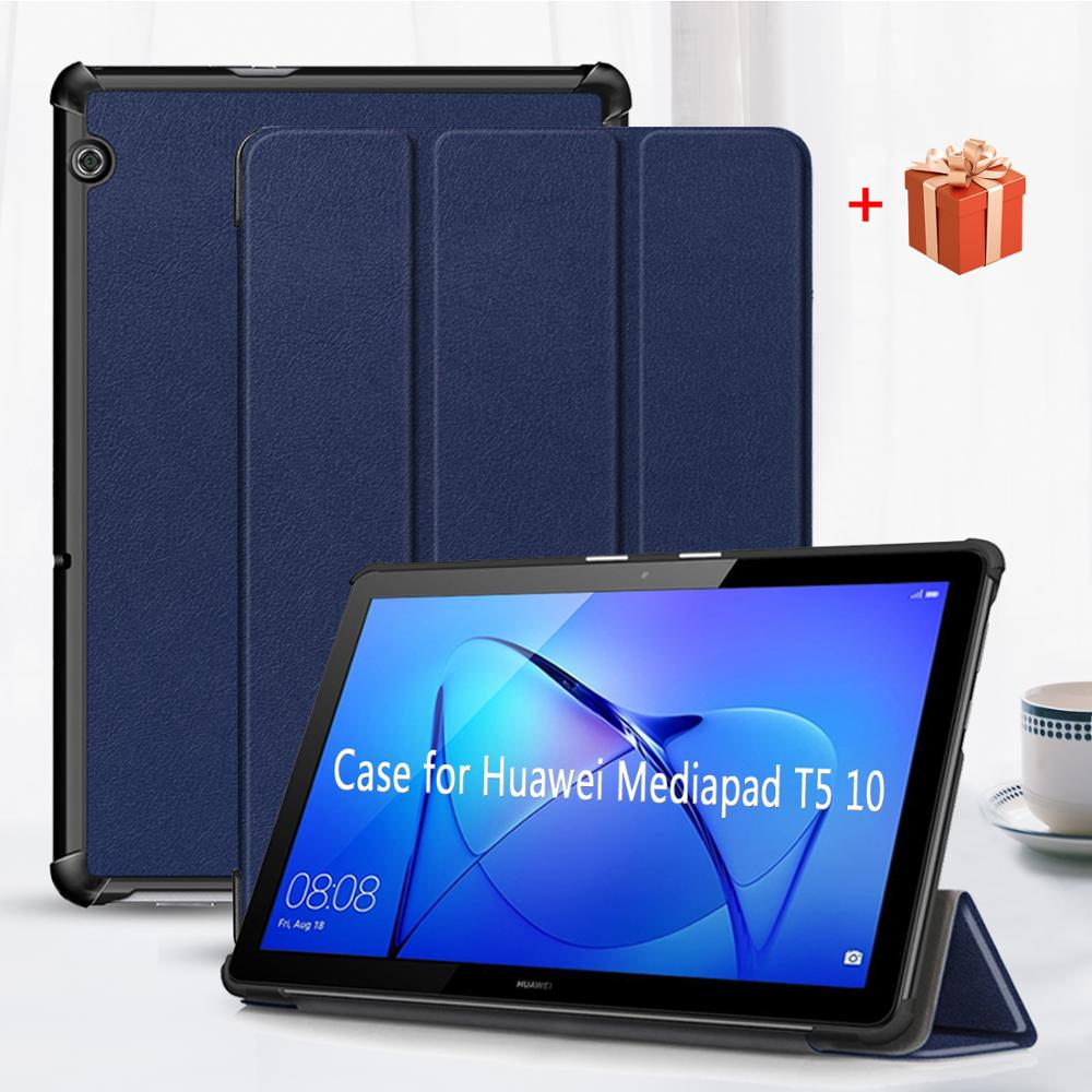 Caso para huawei mediapad t5 10, capa dobrável de couro pu para tablet, proteção para huawei mediapad t5 10.1 AGS2-W09/l09/l03/w19