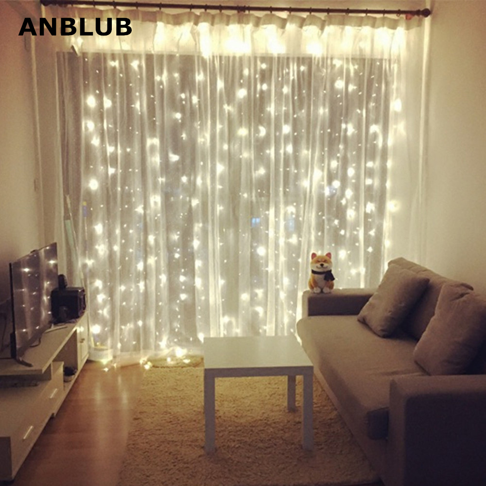 ANBLUB New Year 3M X 3M Outdoor Curtain Icicle LED String Lights 8 Modes Fairy Garland Home For Christmas Holiday Wedding Party