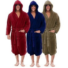 Flannel Robe Male With Hooded Thick Warm Gown Robe Men #8217 s Bathrobe Winter Extra Long Kimono Mens Bath Robe Pajamas cheap MJARTORIA CN(Origin) Polyester Solid Support Supplied By Manufacturer Directly We will send you as soon as possible