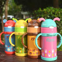 Glass Insulated Stainless Steel Bottle Leak-Proof Children Students Cute Cup with Straw Sippy Cup Baby Mainland China