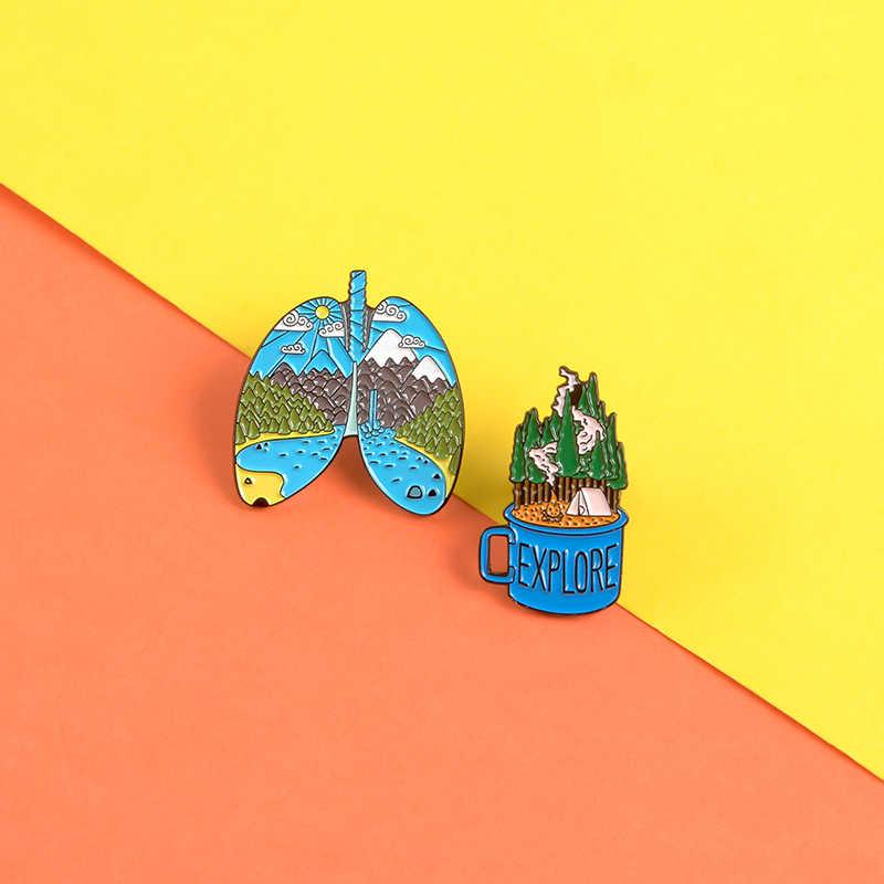 2 Cái/bộ Pin Màu Xám Cá Voi Trái Đất Lũng Rừng Men Pin Thổ Cẩm Hồng Sóng Gương Áo Ba Lô Túi Lapel Pin Huy Hiệu món Quà Trang Sức