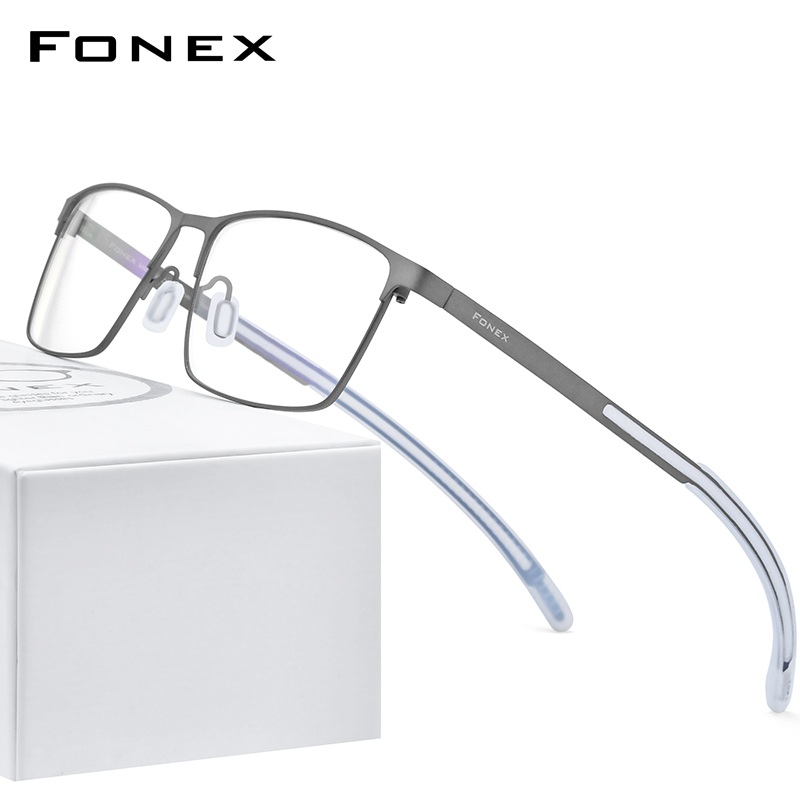 FONEX Pure Titanium Glasses Frame Men Square Myopia Optical Prescription Eyeglass Frame Man 2020 Antiskid Silicone Eyewear 8521