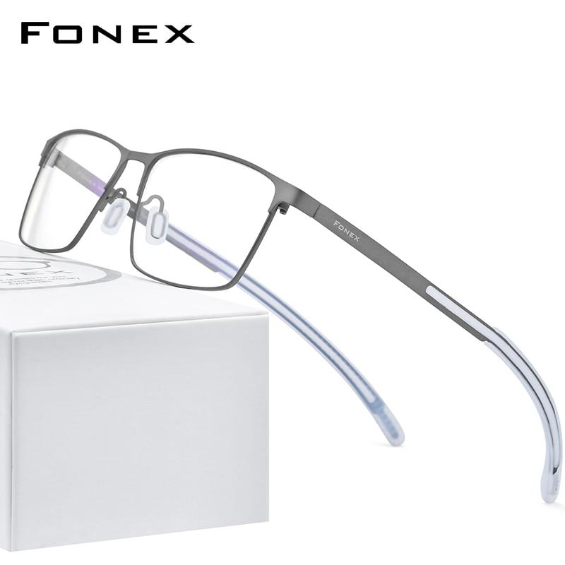 FONEX Pure Titanium Glasses Frame Men Square Myopia Optical Prescription Eyeglass Frame Man 2020 Antiskid Silicone Eyewear 8521