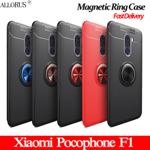 Luxury Magnetic Silicone for Xiaomi Pocophone F1 Case Shockproof pocophone f1 xiaomi Cover magnetic ring case
