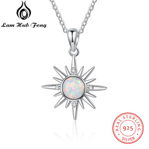 Luxury 925 Sterling Silver Sun Pendant Necklace White Fire Opal Necklace with Zircon Women Necklaces Jewelry (Lam Hub Fong)