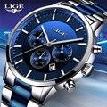 LIGE 2020 новые модные мужские часы с нержавеющей сталью  Топ бренд  роскошные спортивные кварцевые часы с хронографом  мужские часы