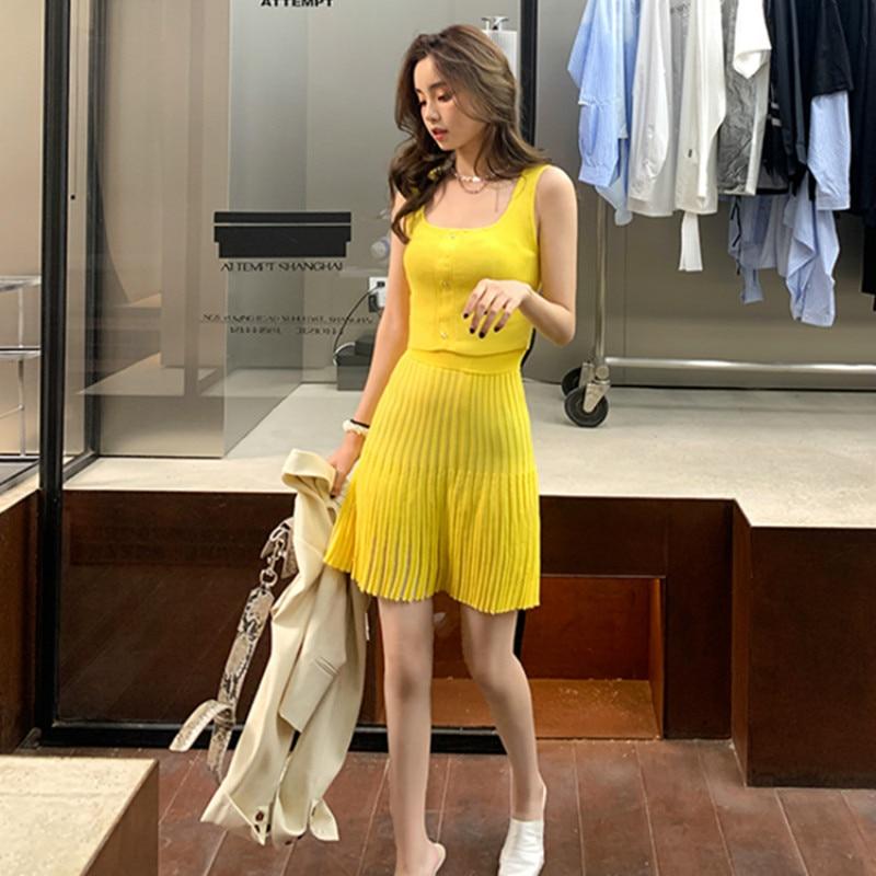 Summer Knitted Tank Top + High Waist Pleated Short Skirt Set Women Sleeveless Vest Crop Top Knit Mini Skirt Suits Two Piece Set