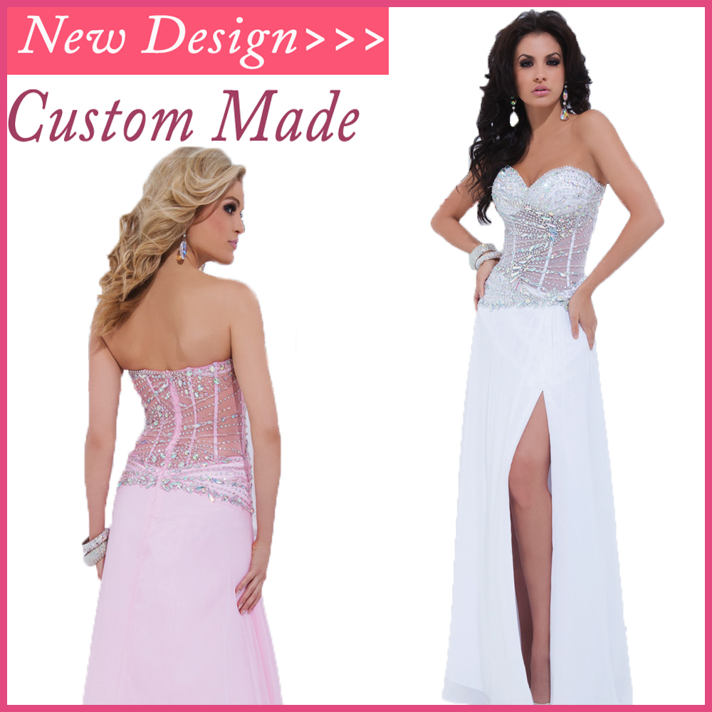 Nova Chegada Sexy Wv-293 Querida Mangas Com Beading Cristal Vestidos Chiffon Prom Rosa Branco Prom Dresses