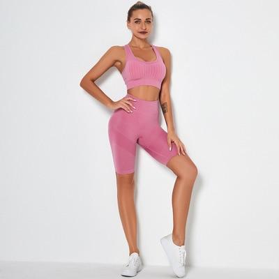 Women Seamless 2PCS Yoga Set Sports Bra High Waist Fitness Gym Shorts Running Sportswear Gym Set Workout Clothes Sports Suits