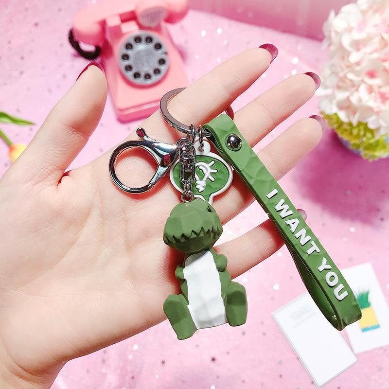 2019 New Fashion Cute Dinosaur Keychain Key Ring Fashion Cartoon PU Key Chain Creative Car Bag Phone Key Ring (4)