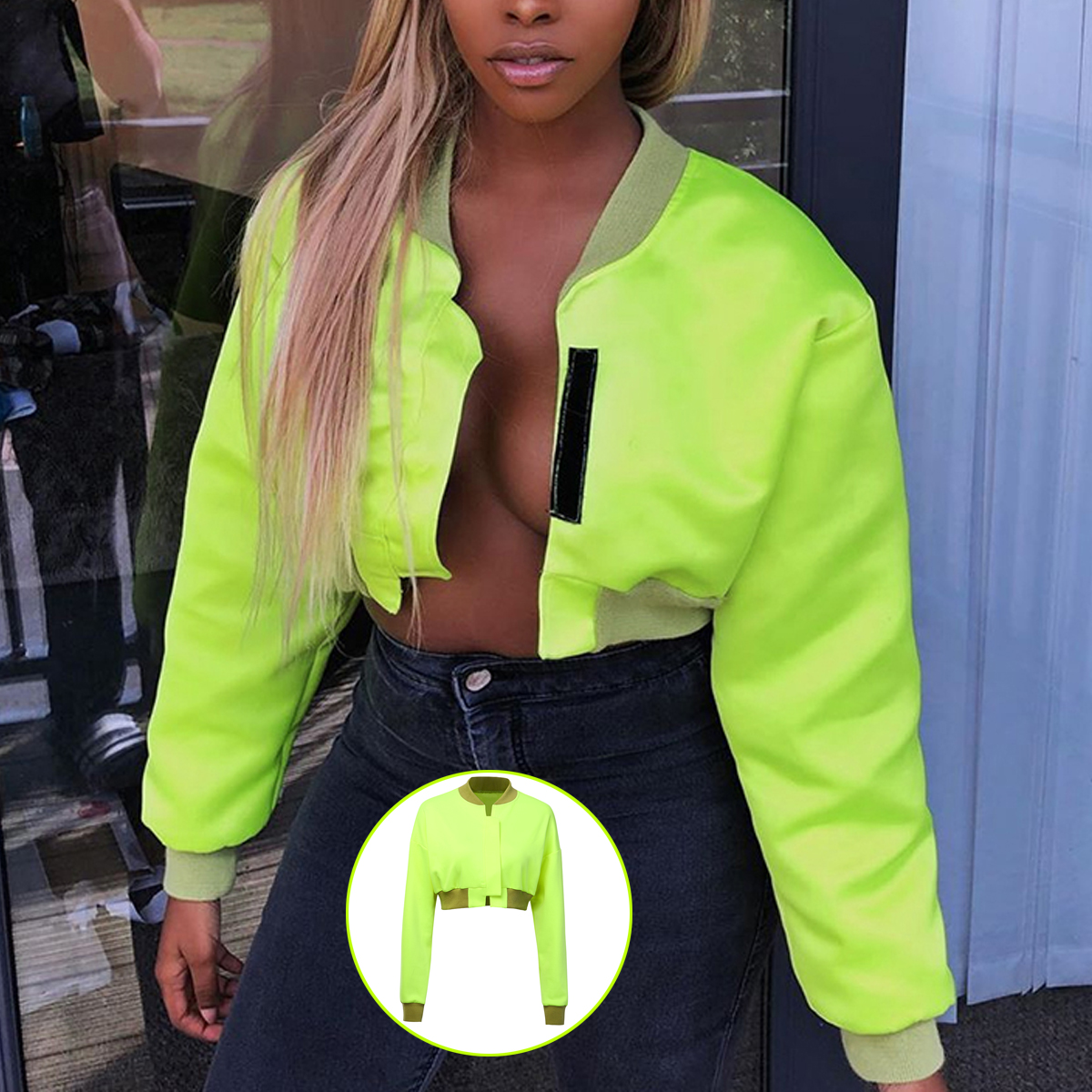 H89bade41cac64e98ae3c4ff57786af087 Neon Green Cropped Jacket Women Streetwear Outwear Windbreaker Bomber Baseball Coats and Jackets Autumn 2019