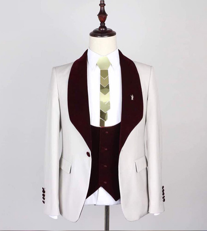 3 Piece Casual Men Suits For Wedding Prom Dinner Burgundy Shawl Lapel Groom Tuxedos New Fashion Man Suit Waistcoat With Pants