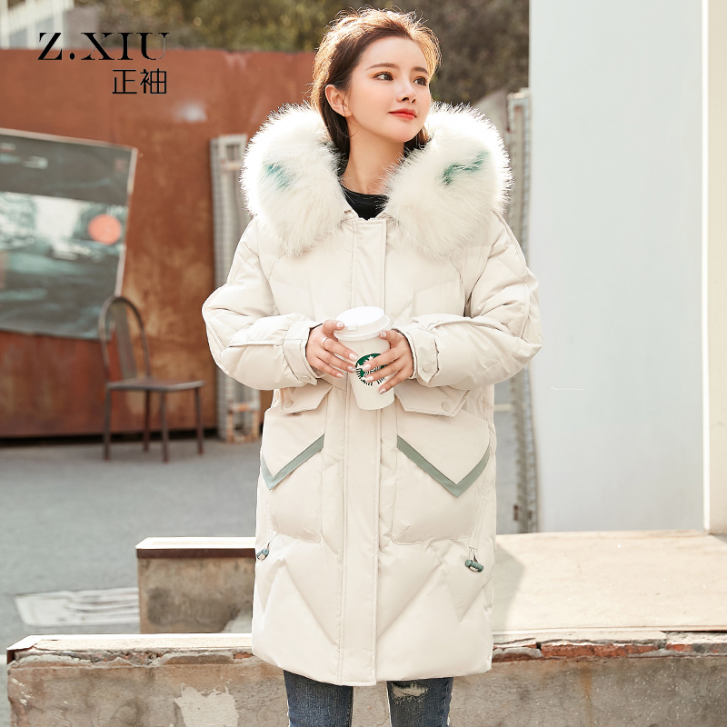 Winter Thickened Long Cotton-padded Jacket Hooded Long Parka Real Fur Women Manteau Hiver Femme Bubble Fur Hooded Coat HH50MF