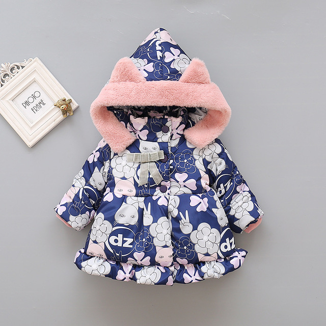 2019 Kids Baby Girls Jackets Baby Clothing Kids Hooded Coats Winter Toddler Warm Cartoon Printed Jacket Baby Outerwear 2-5Y 1
