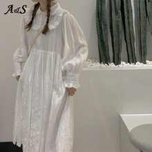 Victorian Dresses Costume Cosplay Gothic Lolita White Doll-Collar Ruffle-Sleeve Sweet