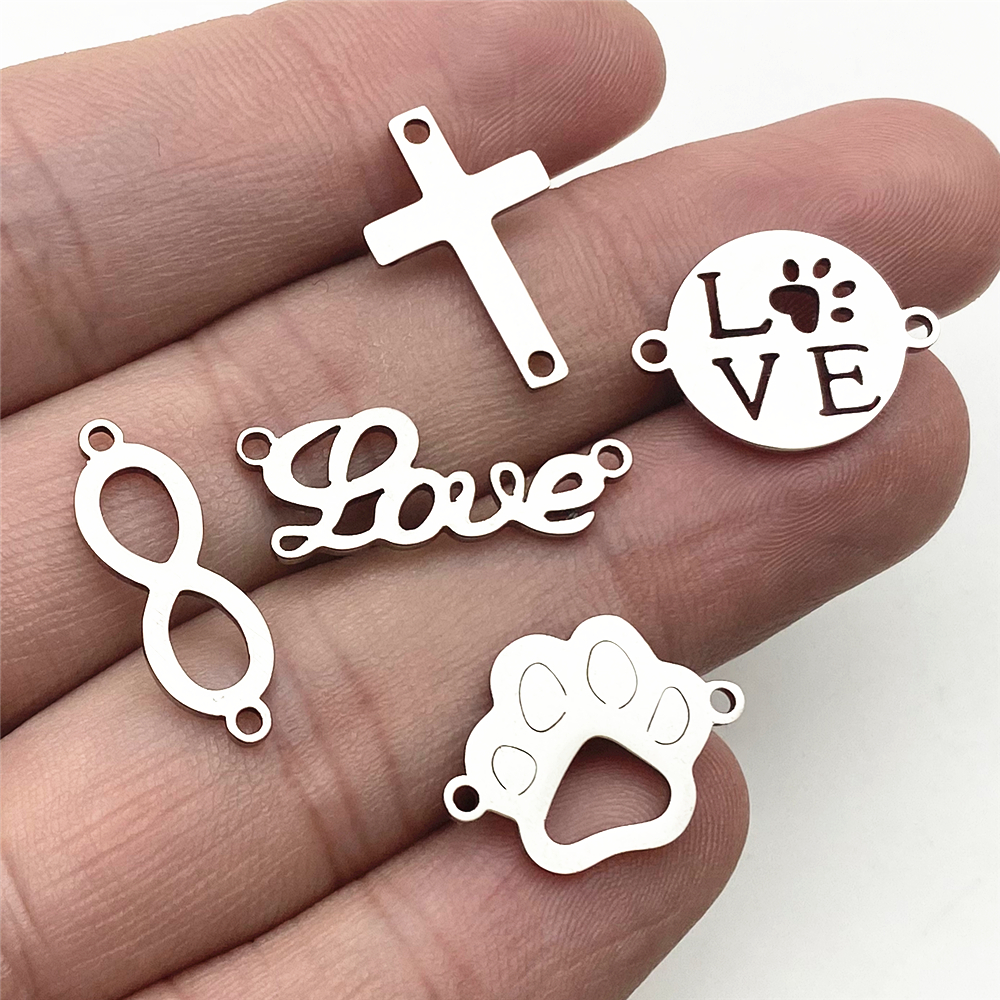 10pcs/lot Stainless Steel Infinite Love Pet Charms Dog Fit Bracelet Connectors Charm Necklace Jewelry Handmade Diy Jewelry Make
