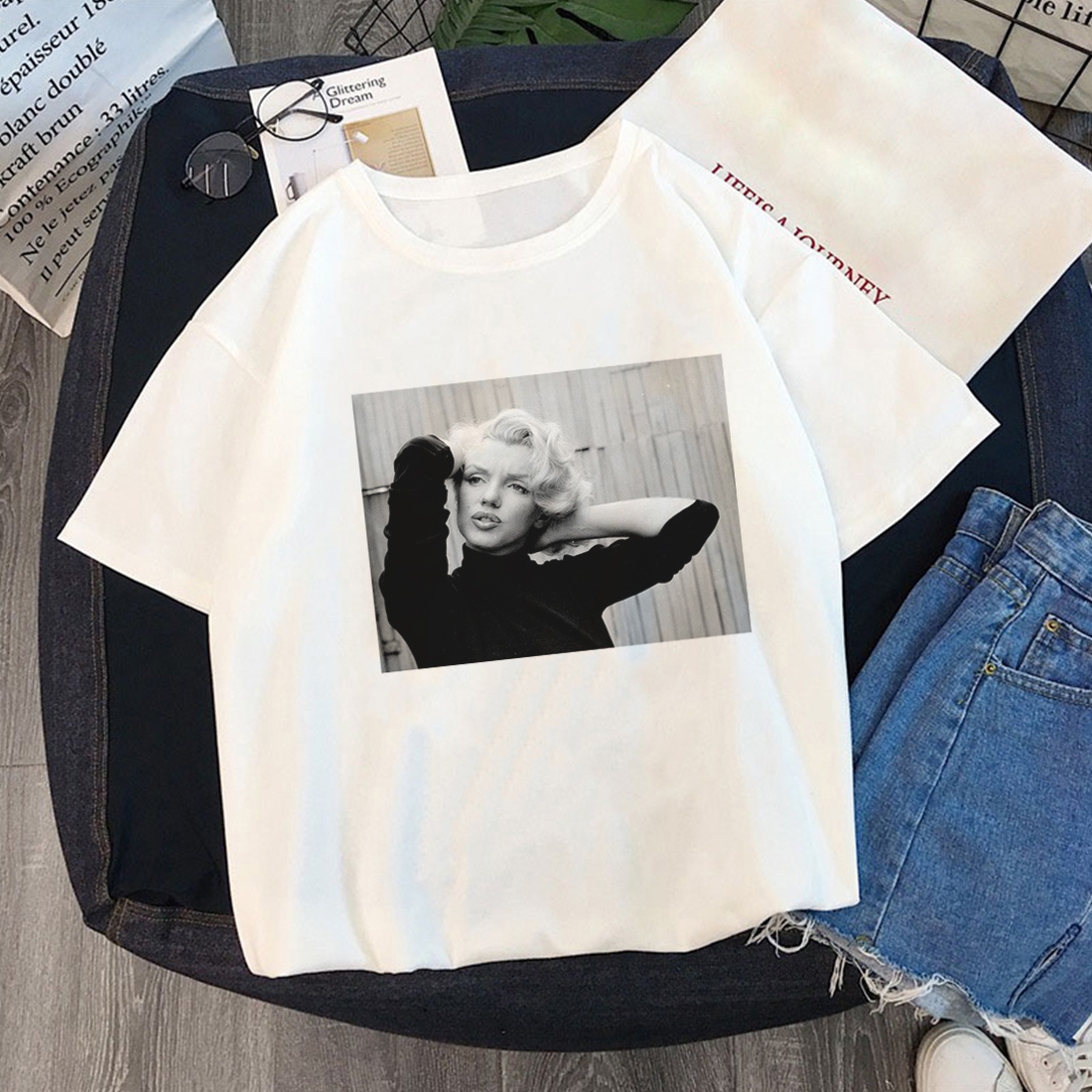 Summer Marilyn Monroe Fun Fashion Printed T Shirt Spoof Personality Harajuku Funny Casual Thin British Style Tops Women Clothing