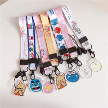 Anime cute cartoon pendant neckline lanyard key certificate gym mobile phone with USB ID folder DIY short paragraph lanyard(China)