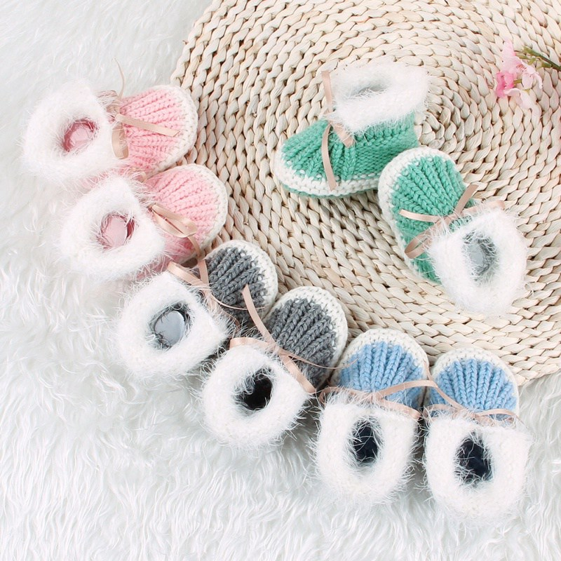 Autumn Spring Baby Shoes Infants Crochet Knit Boots Toddler Girl Boy Yarn Wool Snow Boot Riband Crib Shoes Winter Booties