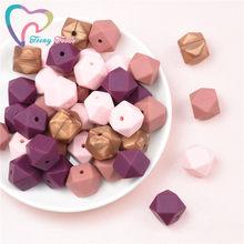 Contas de silicone hexágono de 14mm, 15 peças 4 cores mistas bpa grau alimentar bebê geométrico não-tóxico contas mastigáveis da dentição