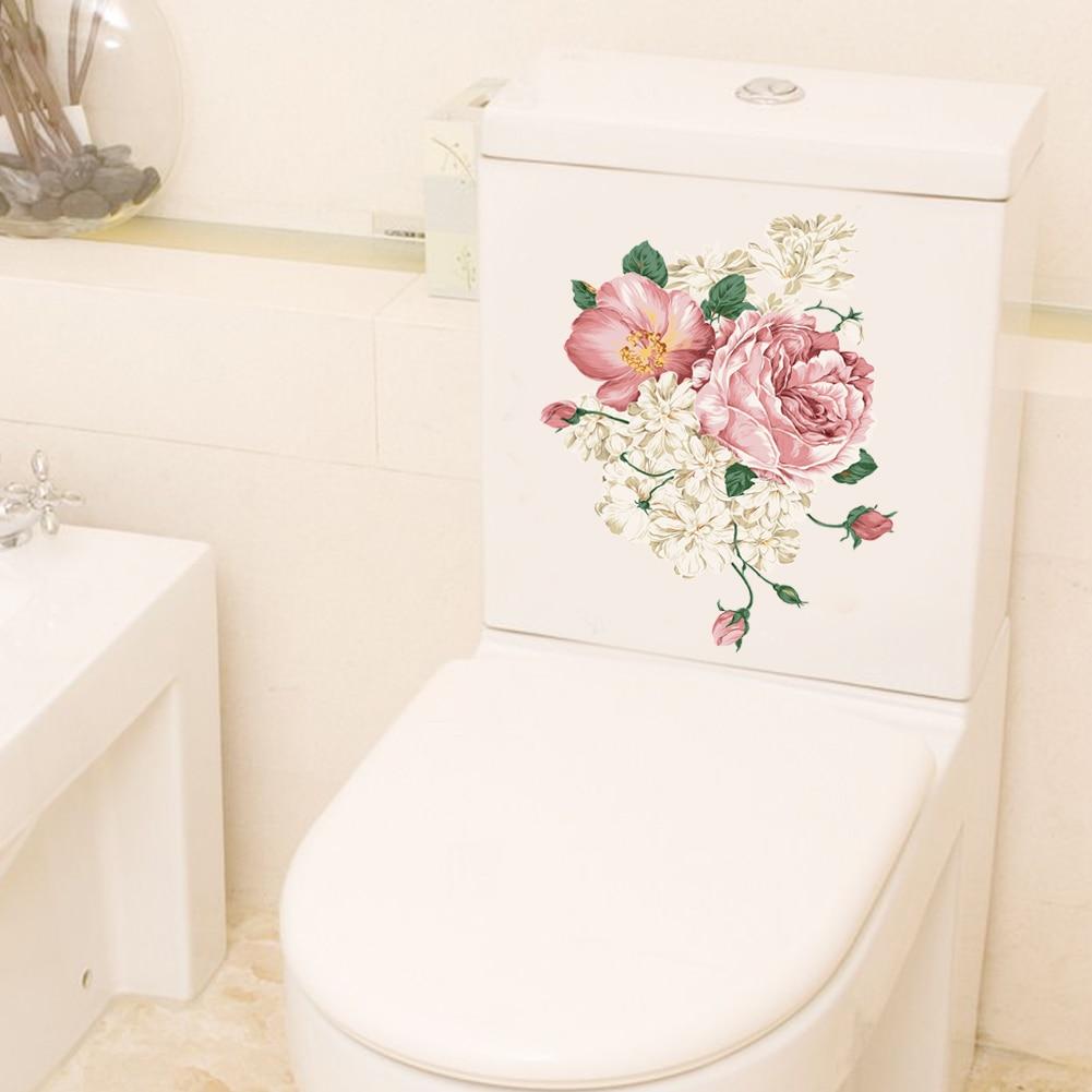 Colorful flower floral vine fridge wall sticker for bathroom toilet refrigerator cupboard decor pvc wall decals diy art gift