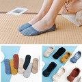 10 шт. = 5 пар, женские хлопковые невидимые носки без пятки, Нескользящие летние однотонные короткие носки, модные тонкие носки по щиколотку