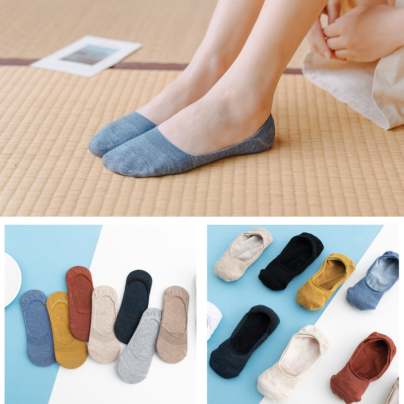 10 Pieces = 5 Pairs Women's Cotton Invisible No Show Socks Non-slip Summer Solid Color Short Socks Fashion Ankle Thin Boat Socks