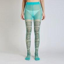 Medias transparentes de alta calidad con estampado circular para mujer, medias para mujer, nuevos diseños