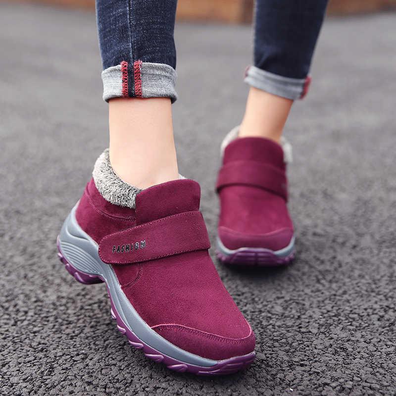 Kadın kar botları kısa peluş 2019 kış ayakkabı kadınlar düz yarım çizmeler akın kauçuk Sneaker kaymaz Botines Mujer artı boyutu 42